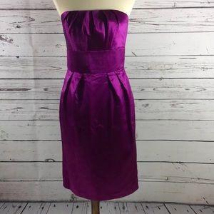 Social Bridesmaid Satin Strapless Purple Size 10